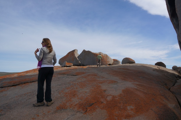 Jill communicating something at Remarkable Rocks