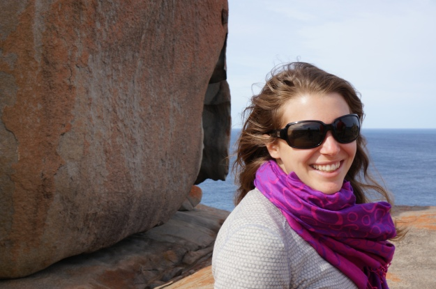 Beautiful happy wife at Remarkable Rocks